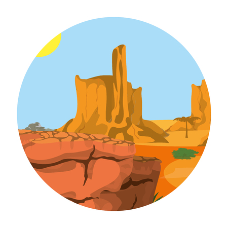desert palm tree with canyon landscape vector illustration
