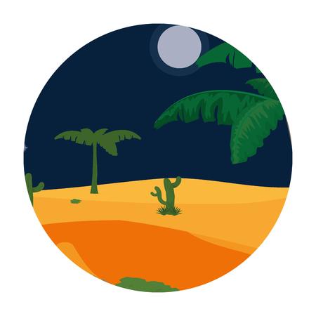 desert cactus plant with tree landscape vector illustration Vectores