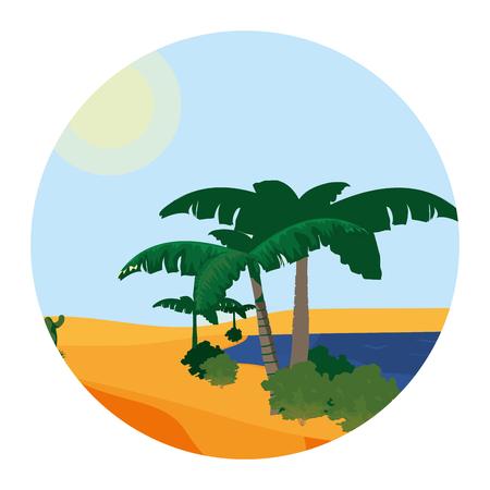 desert palm tree with island landscape