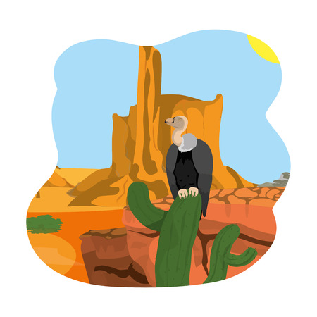 vulture in the cactus and canyon desert landscape vector illustration