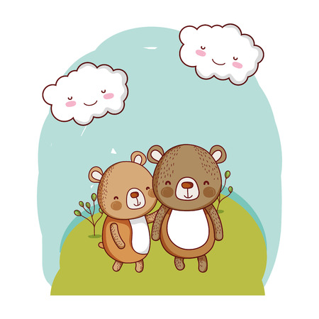 couple bear together animal in the landscape vector illustration 일러스트
