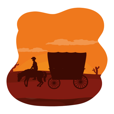 man riding horse with carriage in the desert