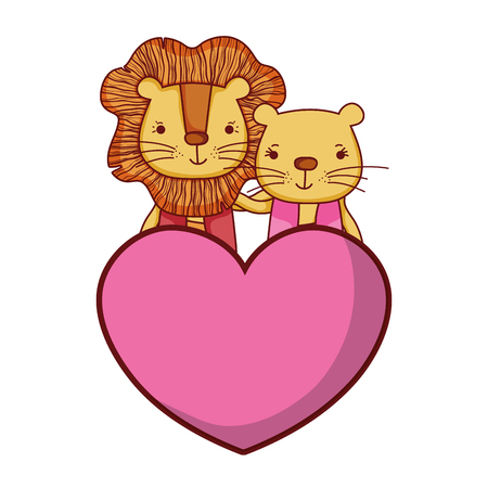 couple lion together with cute heart vector illustration 일러스트