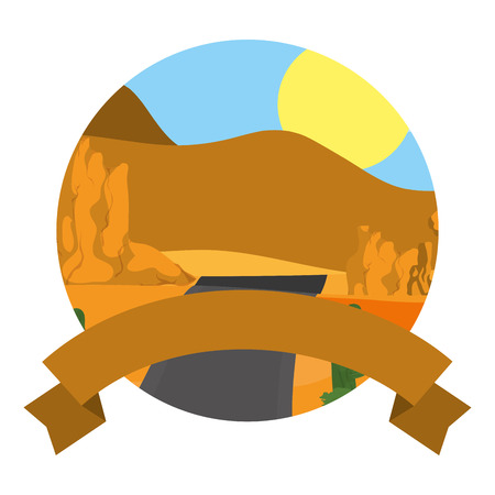 desert mountains and road landscape with ribbon vector illustration