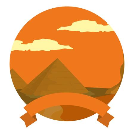desert egypt pyramid landscape with ribbon