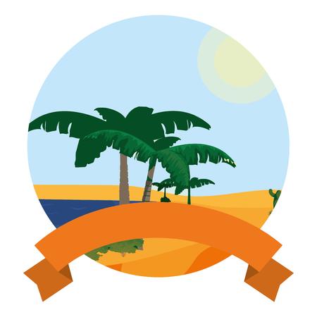 desert plam trees and island landscape with ribbon Illustration