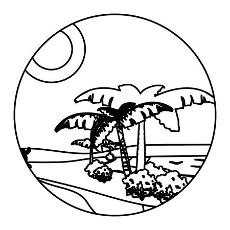 line desert palm tree with island landscape