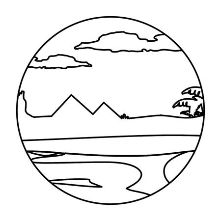 line desert pyramids with palm tree landscape vector illustration