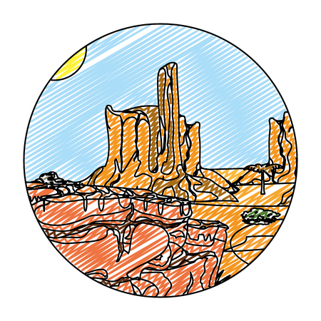 doodle desert palm tree with canyon landscape