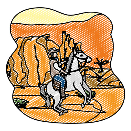 doodle man riding horse in the canyon desert