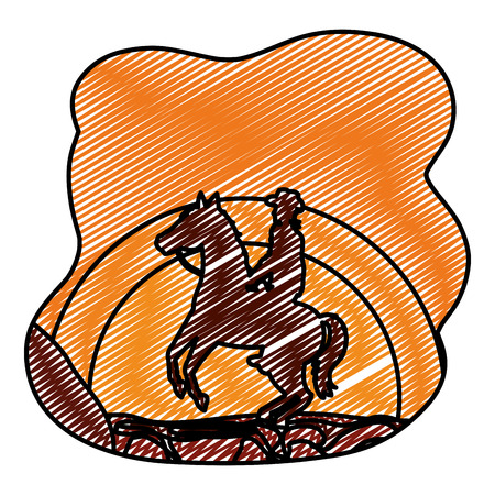 doodle man riding horse in the desert landscape