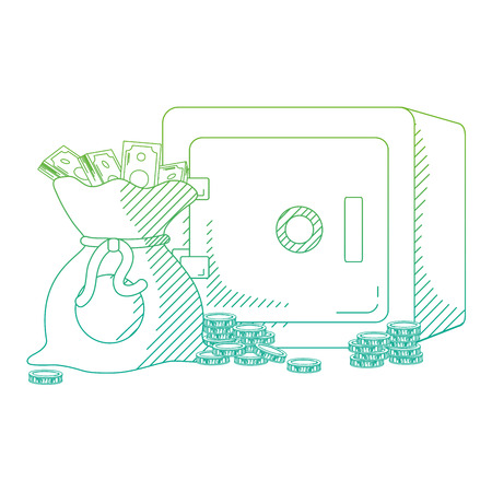 degraded line strong box and bag with cash money vector illustration