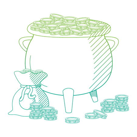 degraded line pot cauldron and bag with coins cash money