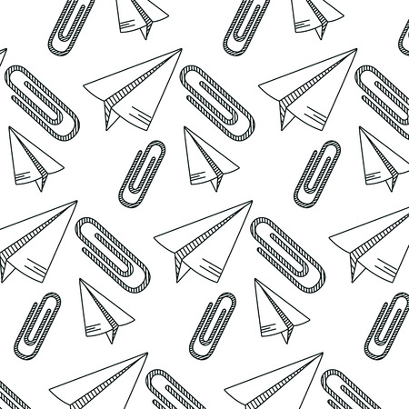 line paper plane and metal paperclip object background vector illustration