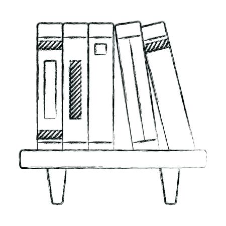 grunge education books object organized in the shelf Illustration