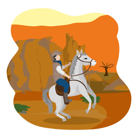 man riding horse in the canyon desert