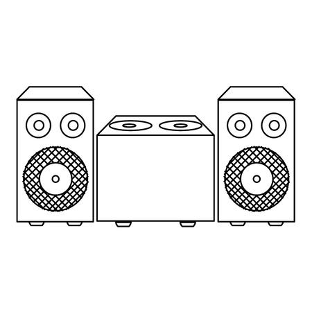 line electronic speaker music object to listen vector illustration 向量圖像