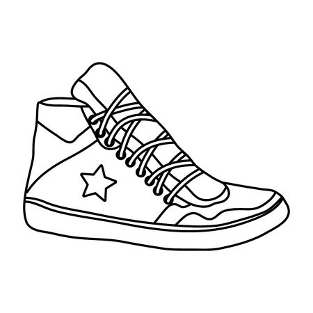 line sneaker shoes with fashion star style vector illustration