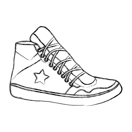 grunge sneaker shoes with fashion star style vector illustration