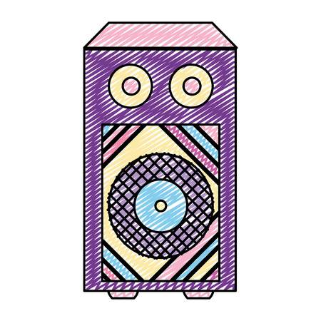 doodle electronic speaker to listen music object vector illustration