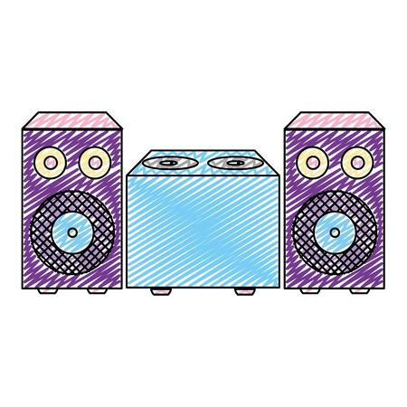 doodle electronic speaker music object to listen vector illustration 向量圖像