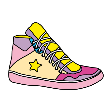 color sneaker shoes with fashion star style vector illustration