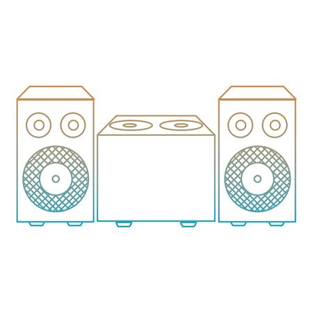degraded line electronic speaker music object to listen vector illustration