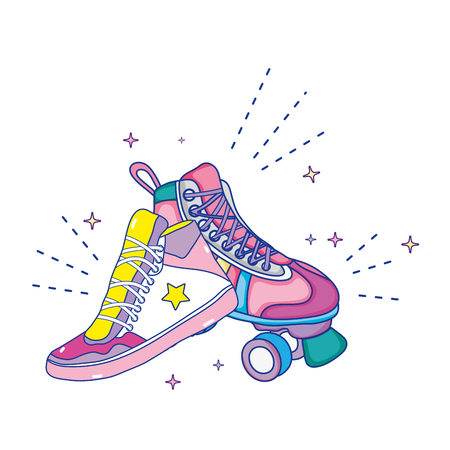 roller skate style and fashion sneaker vector illustration