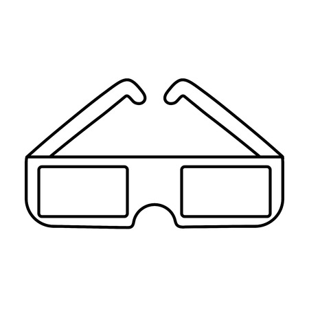 line 3d glasses cine film technology vector illustration