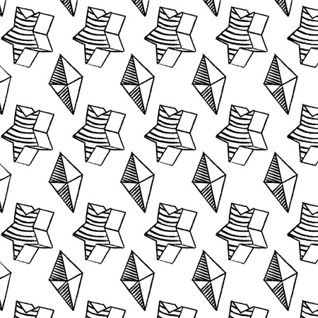 grunge star shape and geometric octahedron background vector illustration
