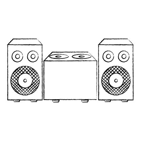 grunge electronic speaker music object to listen vector illustration