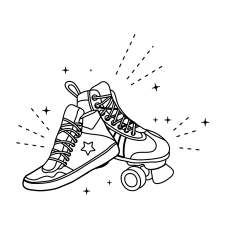 line roller skate style and fashion sneaker Illustration