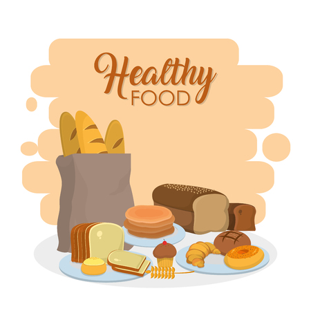 Healthy food bakery products vector illustration graphic design
