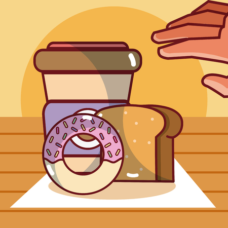 Delicious food with coffee on  woode table vector illustration graphic design