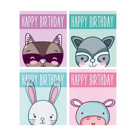 Set of birthday cards Ilustração