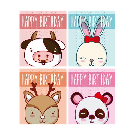 Set of birthday cards Illustration