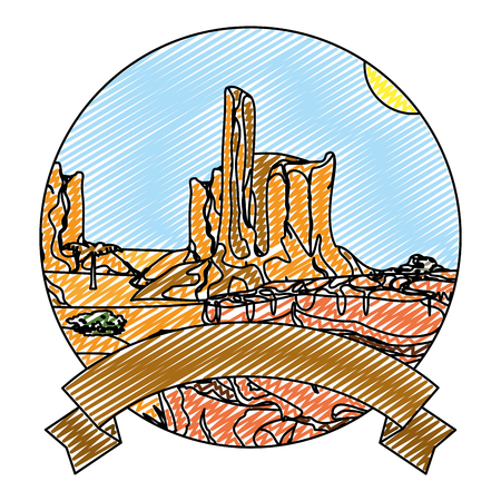 doodle desert palm tree and canyon landscape with ribbon Illustration