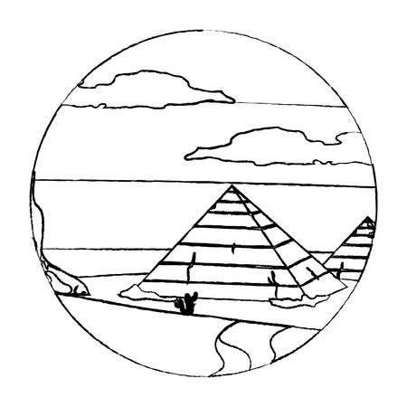 grunge desert egypt pyramid with cactus landscape