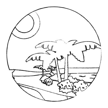 grunge desert palm tree with island landscape