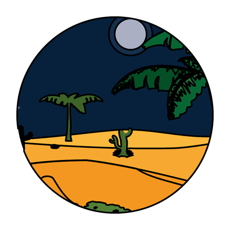 color desert cactus plant with tree landscape vector illustration