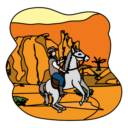 color man riding horse in the canyon desert vector illustration