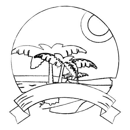 grunge desert plam trees and island landscape with ribbon vector illustration