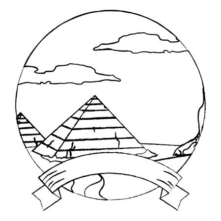 grunge desert egypt pyramid landscape with ribbon vector illustration