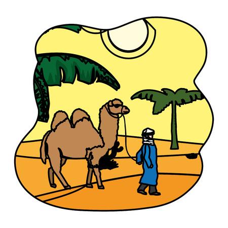 color man with camel walking in the desert landscape