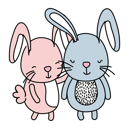 color couple rabbit together cute animal