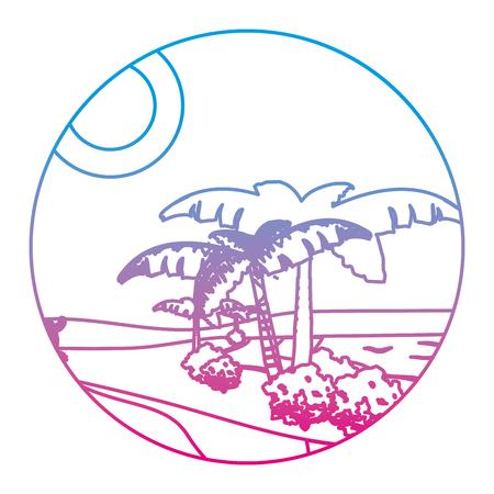 degraded line desert palm tree with island landscape
