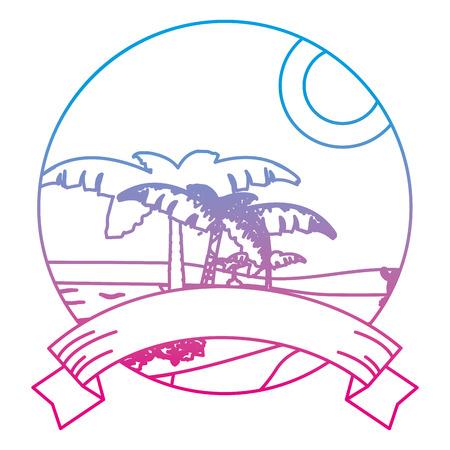 degraded line desert plam trees and island landscape with ribbon Illustration