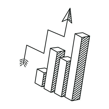 line graphic statistics bar with arrow growing vector illustration Illustration