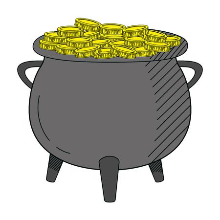coins cash money inside pot cauldron vector illustration