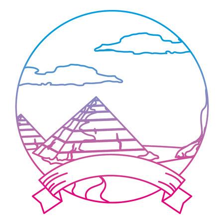 degraded line desert egypt pyramid landscape with ribbon vector illustration